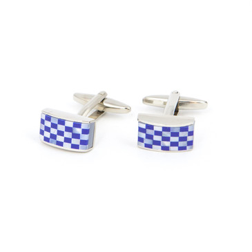Blue and White Check Shell Cufflinks - main view - University graduation gift