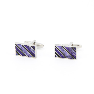 Purple Striped and Patterned Cufflinks - main view - University graduation gift