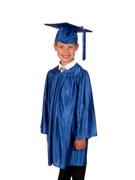 Primary Shiny-Style Blue Gown & Cap - Ages 9 to 10