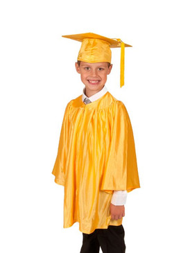 Primary Shiny-Style Gold Gown & Cap - Ages 3 to 4