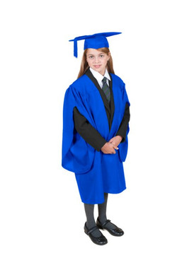 Primary Traditional-Style Blue Gown & Cap - Ages 7 to 8