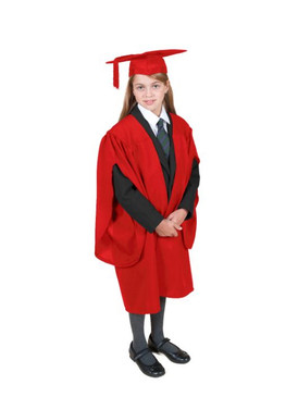 Primary Traditional-Style Red Gown & Cap - Ages 7 to 8