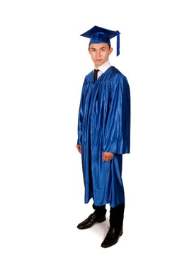 Secondary Shiny-Style Blue Gown & Cap - 155-168cm