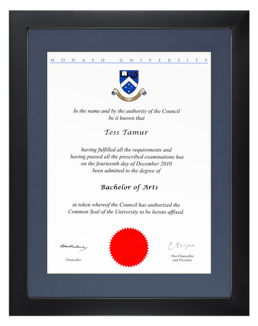 Degree Certificate Frame For Monash University Gowntown