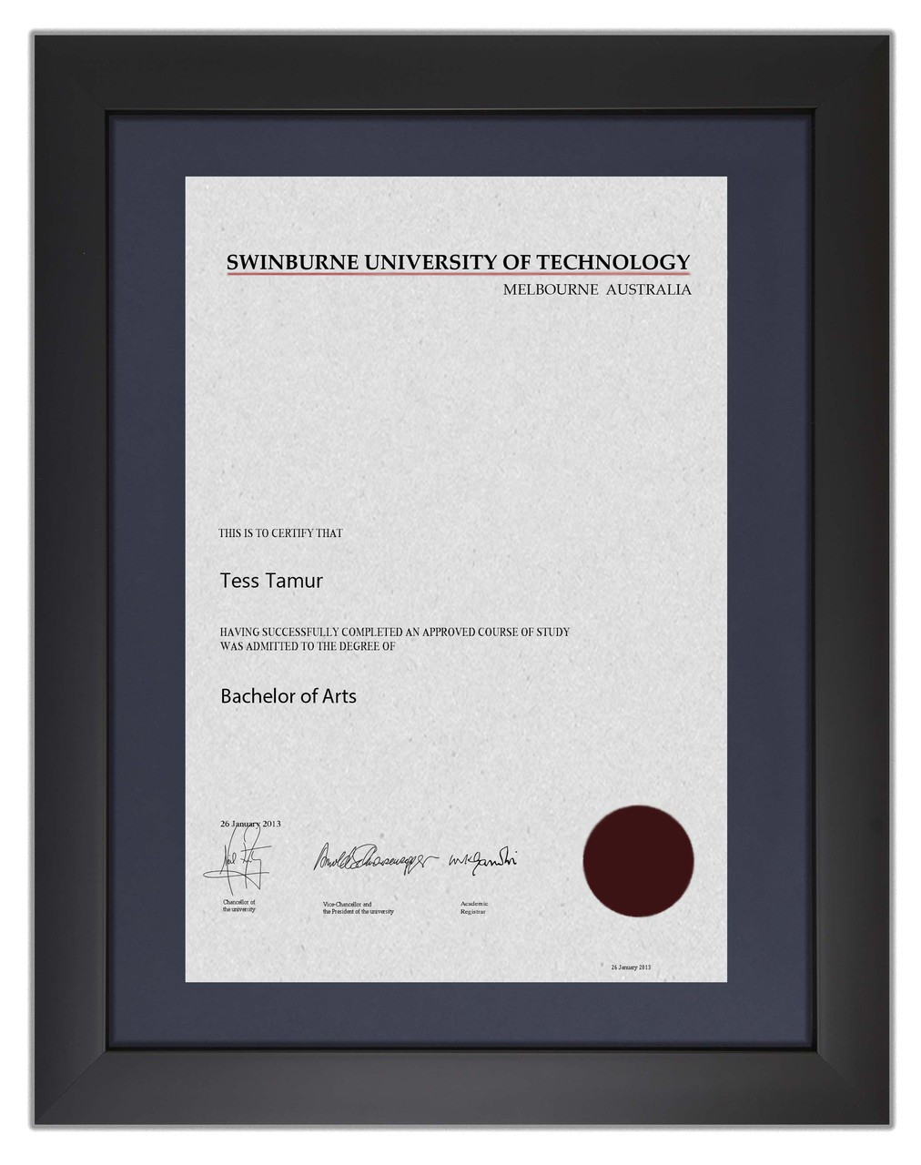 Degree Certificate Frame for Swinburne University of Technology ...