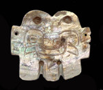 PC069 - ANCIENT MOTHER OF PEARL PRE-COLUMBIAN JAGUAR GOD SHELL APPLIQUÉ