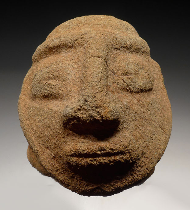 Pre columbian stone head carving