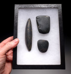 PC110 - SET OF THREE PRE-COLUMBIAN MAYAN HARDSTONE POLISHED TOOLS (CHISEL, AXE, BURNISHER)