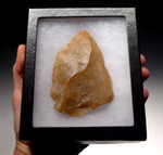 M323 - HUGE NEANDERTHAL MOUSTERIAN LEVALLOIS POINT IN TRANSLUCENT FLINT