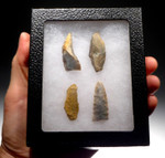 UP013 - SET OF FOUR UPPER PALEOLITHIC MAGDALENIAN FLAKE TOOLS FROM GROTTE DU PLACARD IN FRANCE