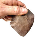 ACH-113 - MOUSTERIAN THIN PROFILE QUARTZITE CORDATE HANDAXE WITH THIN INTACT CHOPPING TIP FROM THE NORTH SAHARA