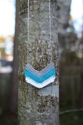 Serendipity Chevron Crochet & Chain Necklace - Sky