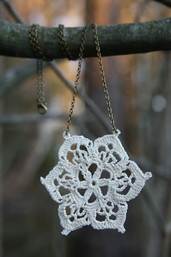 Queen Anne's Lace Handmade Crochet & Chain Necklace