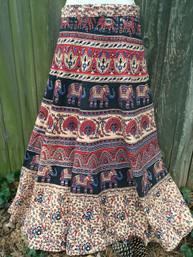 Vintage Hippie Wrap Skirt - Peacock & Elephants