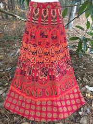 Vintage Hippie Full Length Wrap Skirt - Begonia