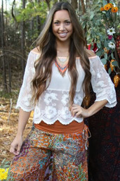 Love & Lace Bohemian Off The Shoulder Top