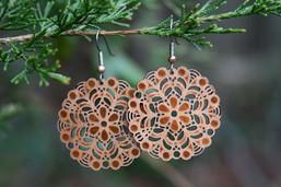 Forest Mandala Eco-Friendly Wooden & Copper Foil Earrings