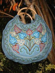 Folksy Floral Wood Handle Embroidered Purse - Sunshine