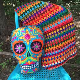 Sugar Skull Embroidered Decorative Pillow