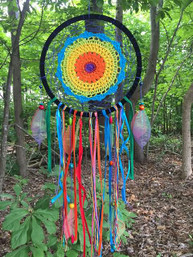 Sweet Dreams Crocheted Rainbow Dreamcatcher