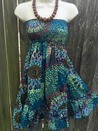 Pretty Peacock Strapless Dress