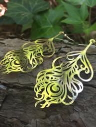 Wild Peacock Gold Earrings