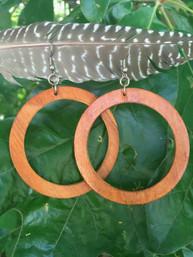 Forest Echo Large Wooden Hoop Earrings
