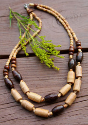 Whispering Woods Double Strand Wooden Necklace