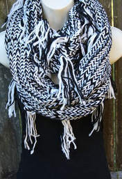 Starry Night Infinity Tassel Scarf