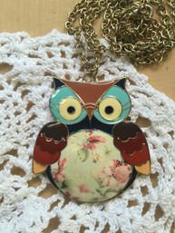 Bohemian Owl Enamel Necklace