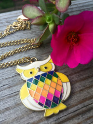 Rainbow Owl Enamel Necklace