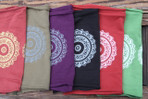 Left to right: brick, olive, plum, black, crimson, green