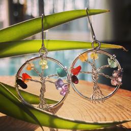 Rainbow Tree of Life Gemstone Earrings