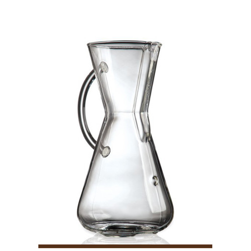 Made of non-porous Borosilicate glass which will not absorb odors or chemical residues CHEMEX pour-over allows coffee to be covered and refrigerated for reheating without losing flavor Simple, easy to use with timeless, elegant design Use CHEMEX Half Circle Filters FP-2
