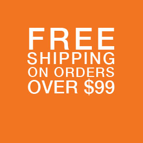 Square, orange banner promoting Free Shipping on All Order Amounts over 99 dollars