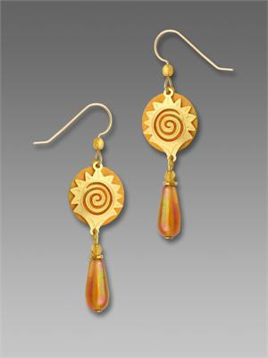 Golden Yellow Disc Earrings with Gold Plated Sun and Bead Drop