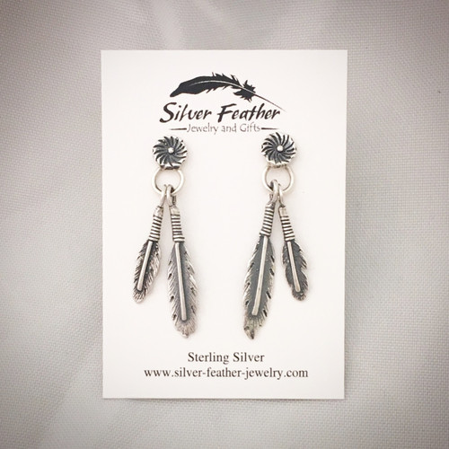 Sterling Silver feather and floral earrings