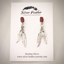 Sterling Silver and Red Coral feather post earrings
