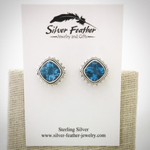 Blue Topaz Post Earrings ID-005