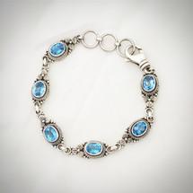 Blue Topaz Link Bracelet ID-009