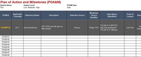 Fully editable Microsoft Excel spreadsheet  - Plan of Action & Milestones (POA&M) template
