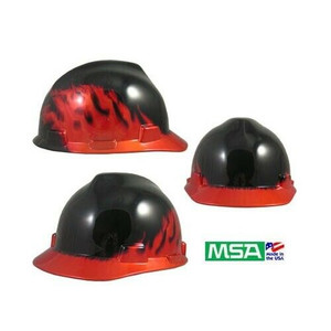 MSA Safety Works 10124206 Black Fire V Gard Hard Hat w/ Ratcheting Suspension