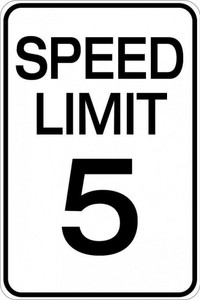 Hy-Ko HW-23 Aluminum Heavy Duty Speed Limit 5 MPH Road Safety Sign 12 x 18""