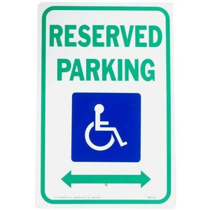 "Hy-Ko HW-32 Aluminum Handicap RESERVED PARKING 12 x 18"" Sign"
