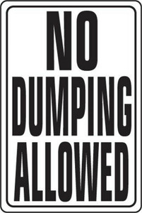 "Hy-Ko HW-4 Aluminum Heavy Duty NO DUMPING ALLOWED 12 x 18"" Sign"