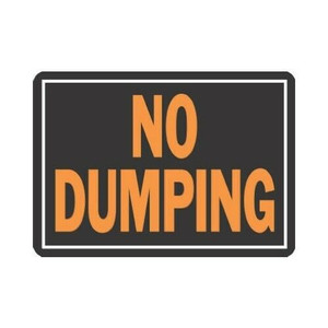"Lot 10 Hy-Ko 3027 Durable Plastic NO DUMPING 9 x 12"" Sign Bright Orange & Black"