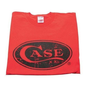 Case XX 50206 Knife Accessories Large Red Case Cotton Medium T-Shirt is made from 100% in the U.S.A & features the XX Case signature oval logo on the front.