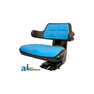 Blue Universal Tractor Seat With Suspension Tracks and Angle Base