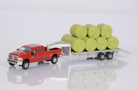 1/64 Case IH Dodge Pickup with trailer and bales