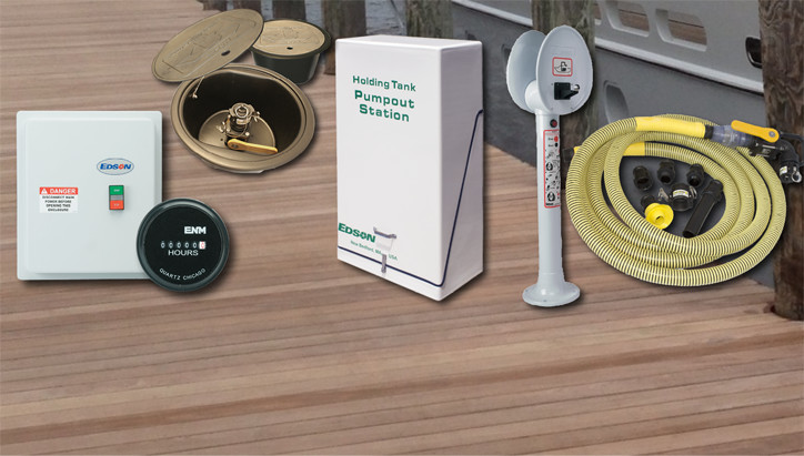 Edson Pump Accessories and Fittings, including hose, enclosures, and parts for pumpout systems